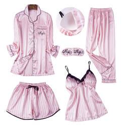 Сезон: весна–лето Для женщин с длинным рукавом печати пижамы комплекты с брюками Сексуальная Спагетти ремень пижама 5 штук Домашняя одежда