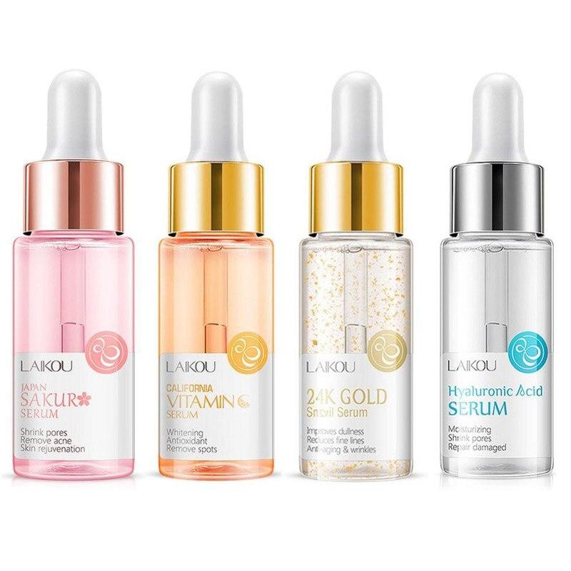 15ml Face Serum Sakura Gold Snail & Vitamin C Whitening Serum Hyaluronic Acid Skin Care