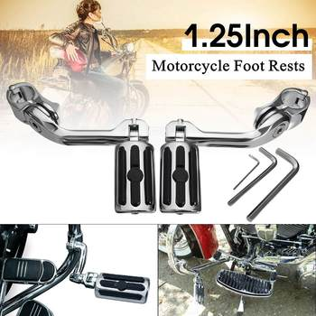 """1.25"""" 3.2cm Motorcycle Long Angled Adjustable Foot Pegs Pedals Foot Rests Mount For Harley"""