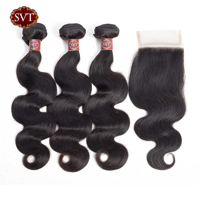 "SVT Hair Indian Body Wave Bundles With Closure 4Pcs/Lot 8-26"" Middle Ratio Non-Remy Human Hair Bundles With Closure"