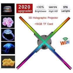 Светодиодный проектор с Голограммой 3D, голографический вентилятор, светильник с 3D логотипом для рекламы, дисплей без глаз, для магазина отд...
