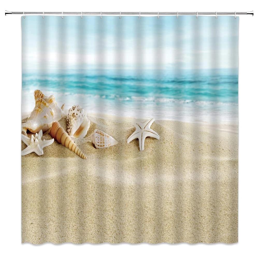 beach starfish shower curtain decor shell conch tropical ocean wave sky blue beige fabric bath curtains bathroom accessories