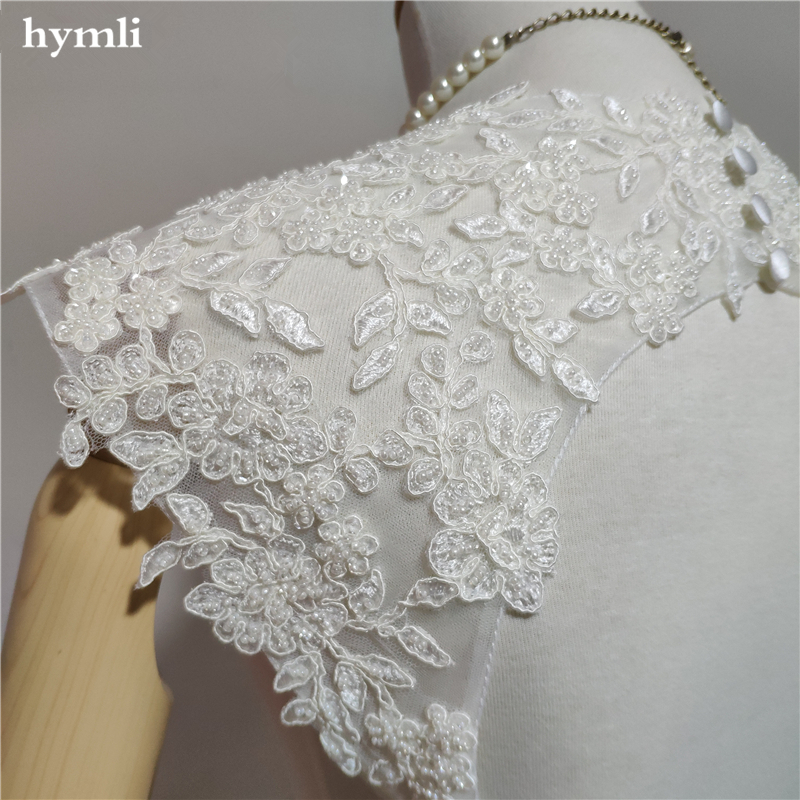 Beaded Keyhole Detachable Lace Straps for Low Back Strapless Wedding Dress