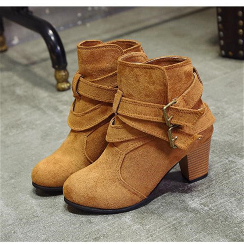 Size35-42 Buckle Brown Suede Boots Women Black High Heel Ankle Boots Fashion Sexy Party Shoes Christmas Shoes For Women