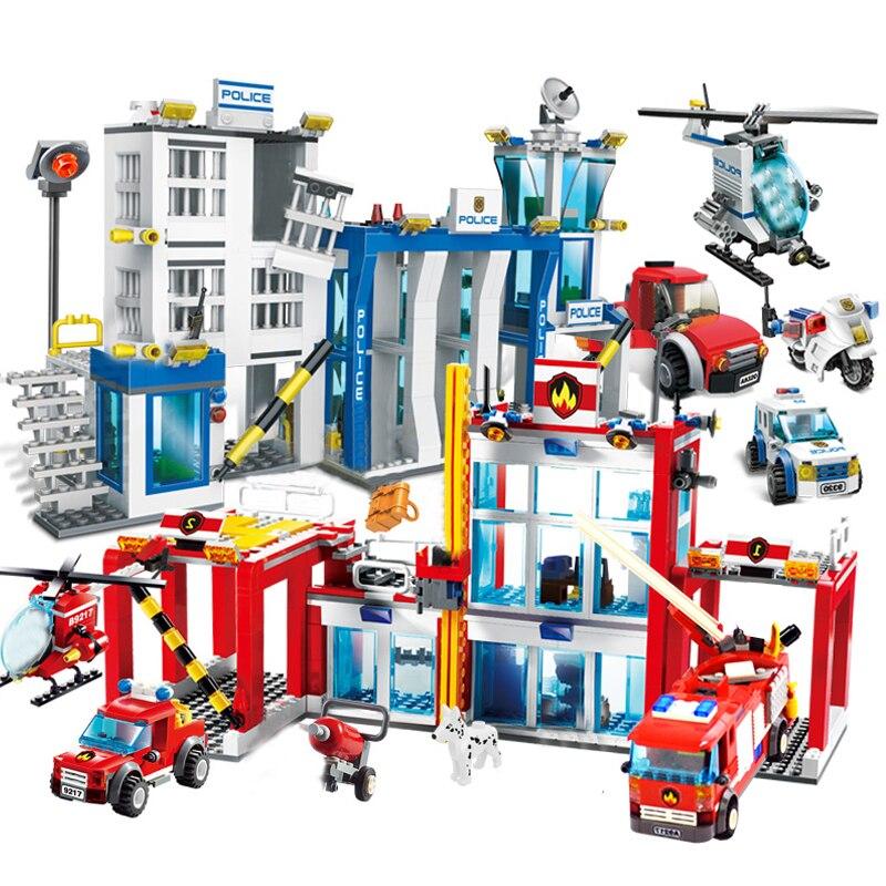 Qwz cidade estação de bombeiros legoes blocos de construção bombeiro figuras caminhão da cidade iluminar tijolos brinquedos para crianças presente