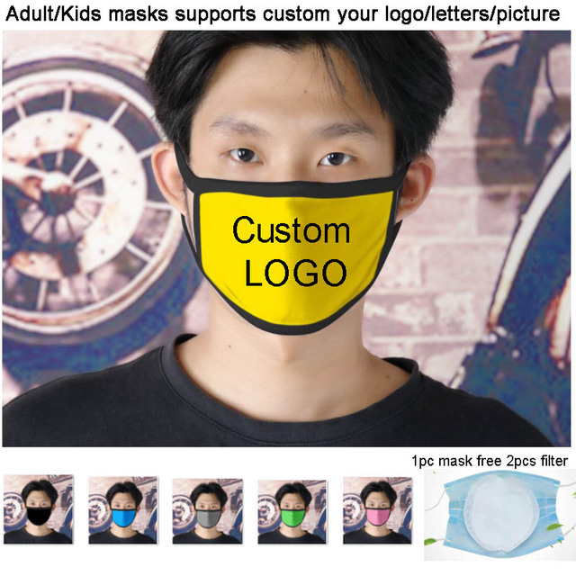 Custom Adult/Kids Mouth Mask Custom Printing LOGO mask filter Windproof Mouth-muffle bacteria proof Flu Face masks Care Children