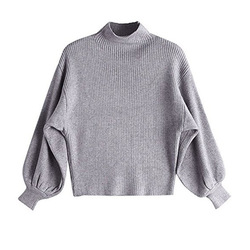 Fashion Loose Bat Sweater Women 2019 Autumn Puff Sleeve Knitted Sweater Women Pullover Slime Loose White half Turtleneck 3
