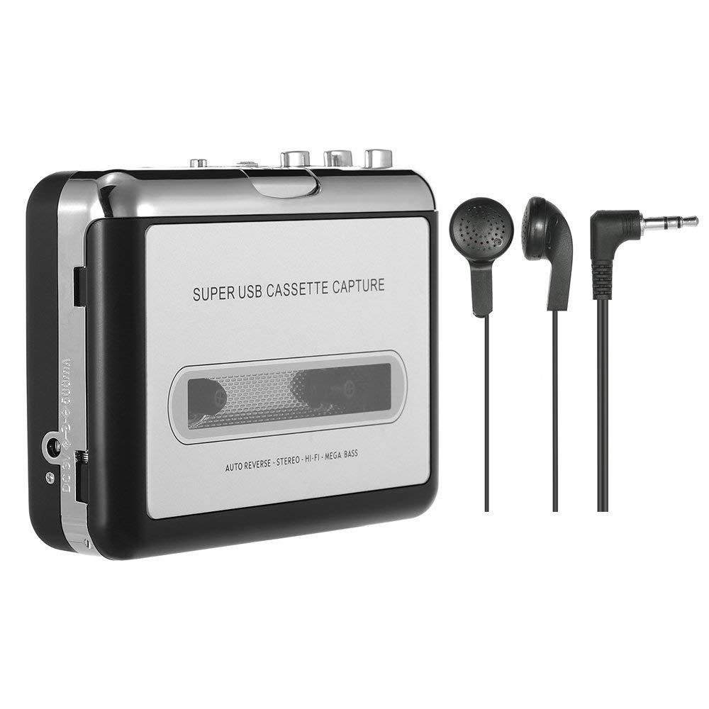 Portable Cassette Player Tape Captures Recorder via USB Compatible with laptops and PC convert tape cas