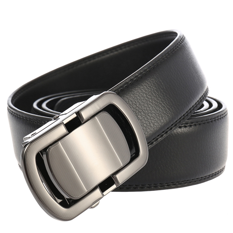 Novel Automatic Buckle Belt For Men Cowskin Genuine Leather Business Men's Belt 3.5cm Width With Size 150 160 170 180 190 200cm