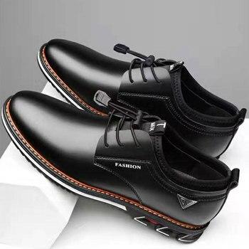 Новинка 2020 года; Мужская обувь; Кожаная обувь из воловьей кожи; Мужские удобные низкие повседневные тонкие туфли в британском стиле; Кожаная...