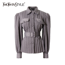 TWOTWINSTYLE Vintage Twist Sweater For Women Lapel Long Sleeve Sashes Knitted Tops Female Fashion Autumn New Clothing 2020 Tide