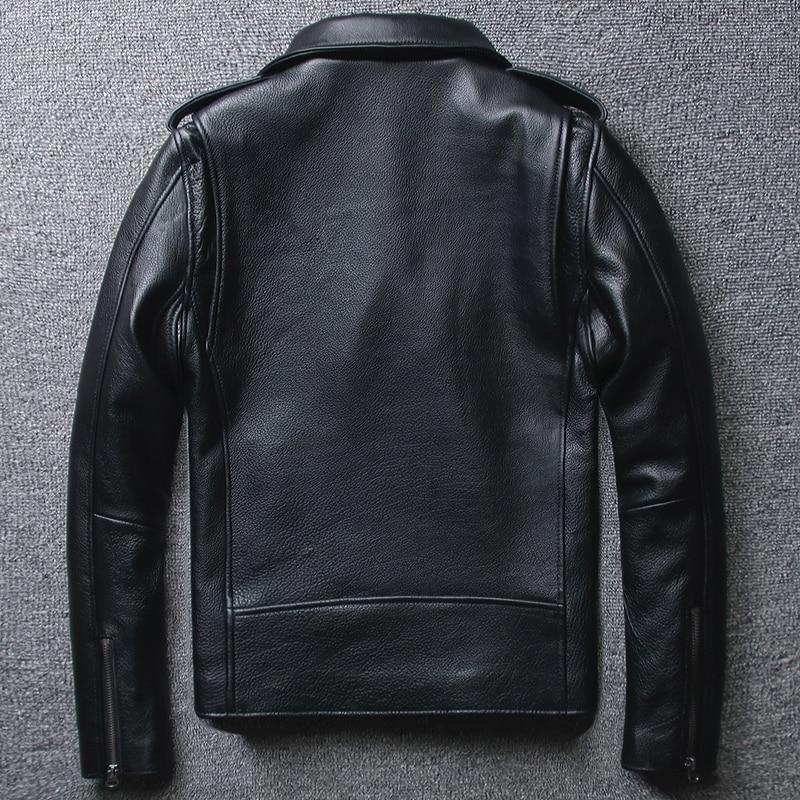 Mens Geninue Leather Jacket Cow Leather Short Slim Motocycle Plus Size Jackets Spring Autumn Jaqueta Couro MF139