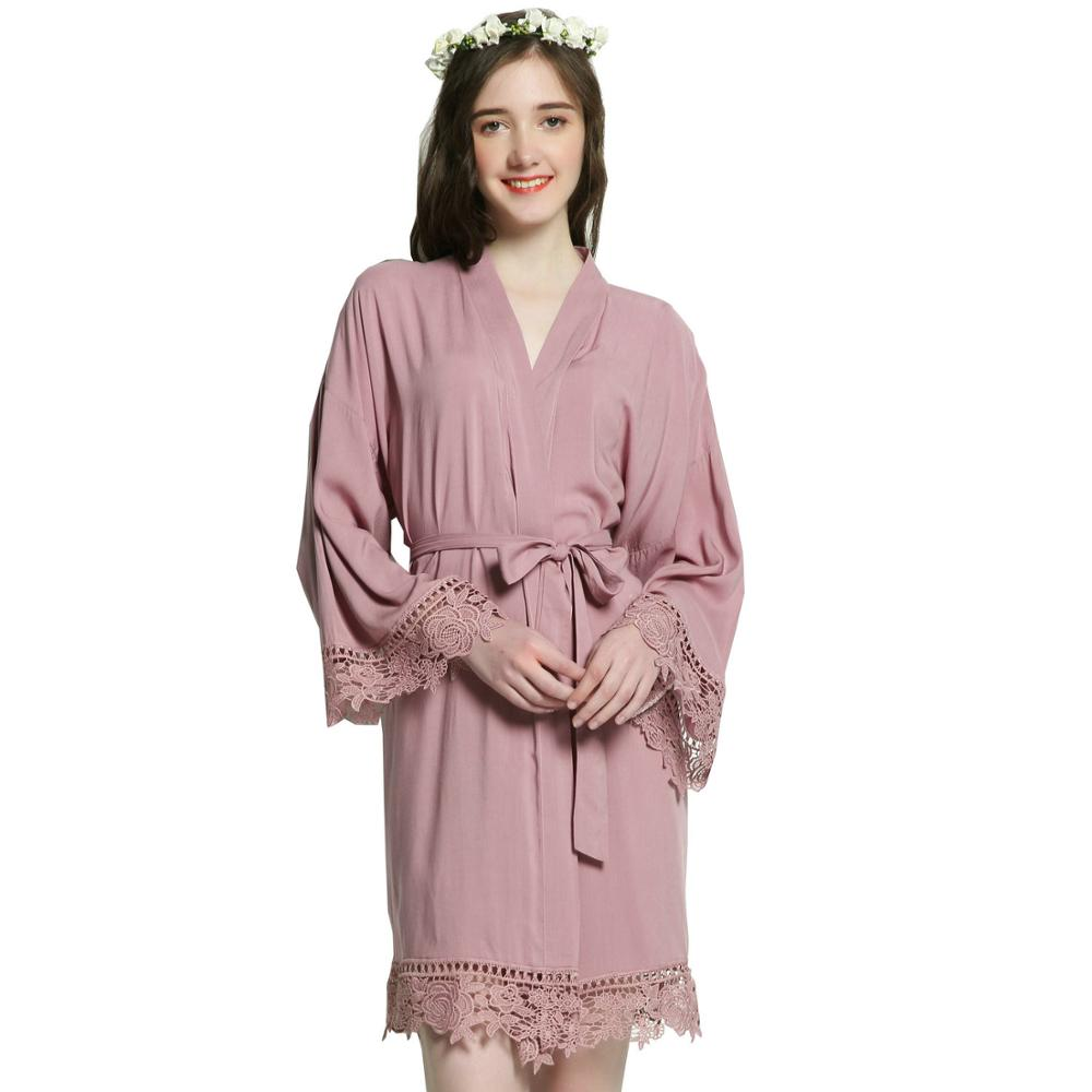 Cotton Kimono Solid Plus Size Bride Bridesmaid Robes W/ Lace Trim Women Sexy Wedding Bridal Bath Robe Short Belt Sleepwear Gown