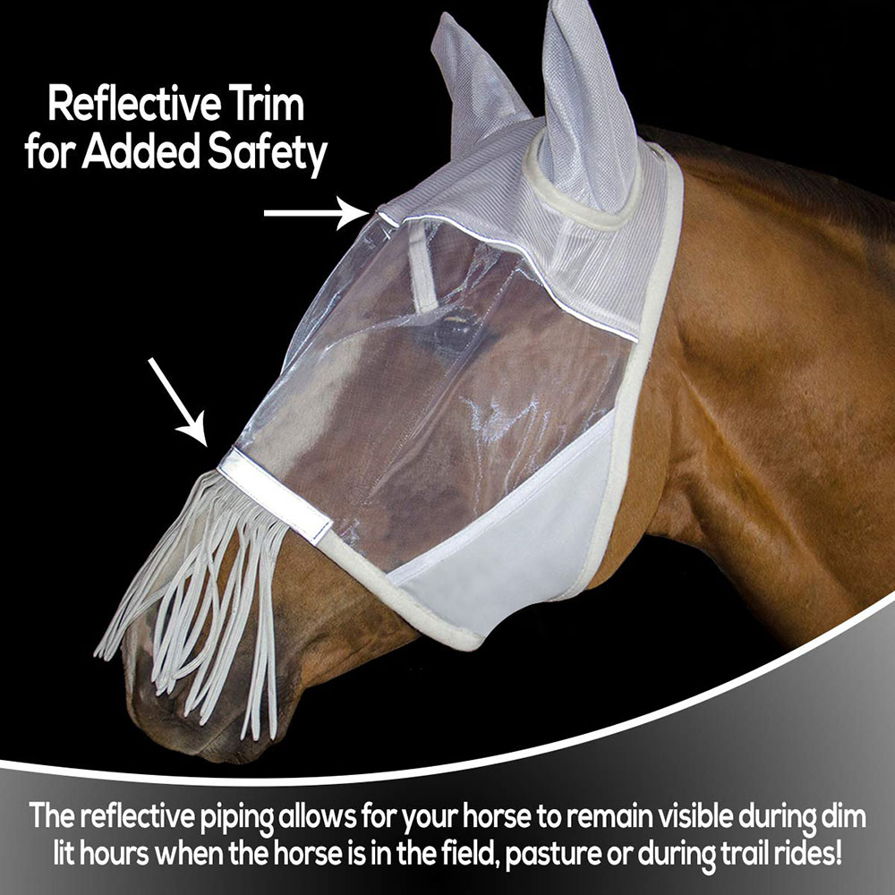 Quiet Ride Extended Nose Fly Mask Fine Mesh Fly Mask With Nose Fringe