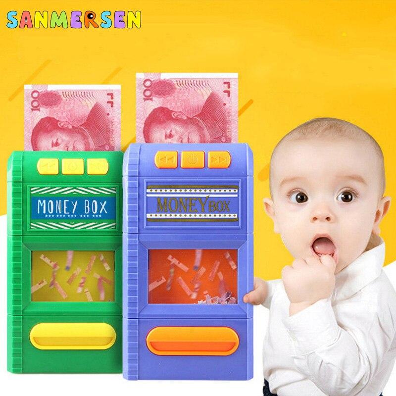 Children Money Box Music Toys Funny Simulation Paper Shredder Electronic ATM Piggy Bank Cash Coin Savings Box Deposit Kid Toys