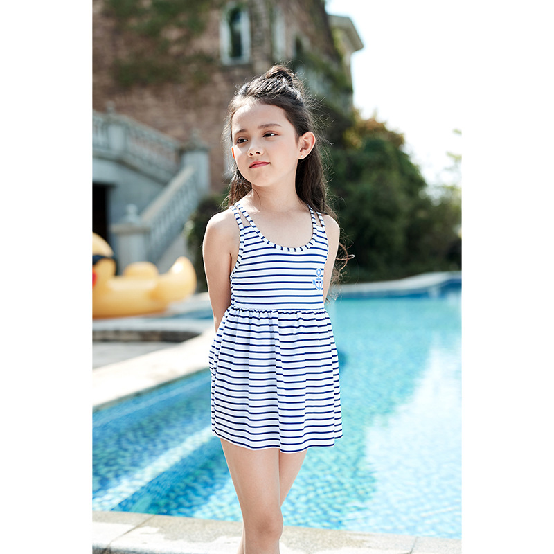 2018 New Style Stripes Navy Style KID'S Swimwear Boat Anchor One-piece GIRL'S Swimsuit