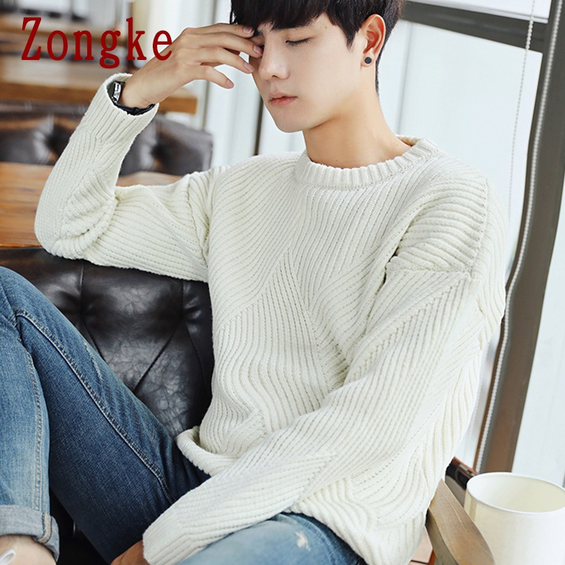 Zongke Solid Striped Winter Sweater Men Coat Pullover Men Sweater Winter Mens Sweaters For 2019 Autumn New Man Pull Clothes XXL