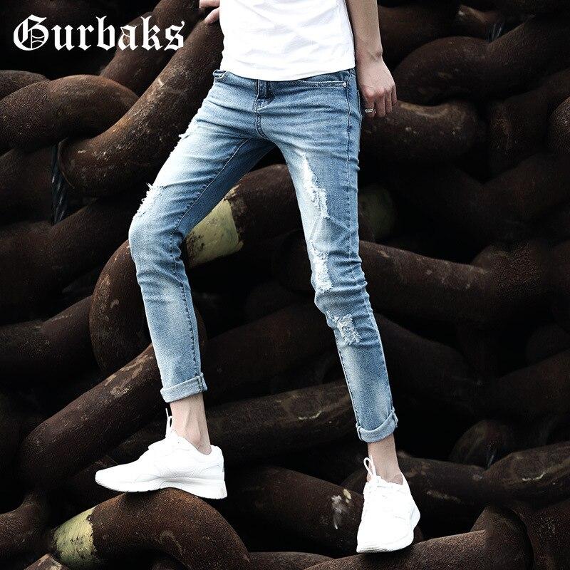 Gurbaks2019 With Holes Jeans Men's Summer Skinny Pants Trend Slim Fit Korean-style MEN'S Trousers Capri Pants Men's
