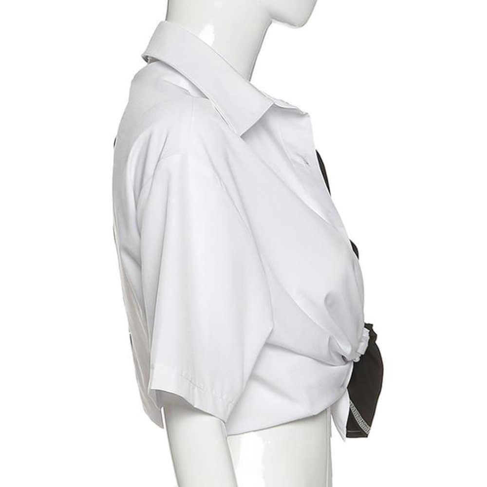 Lengan Pendek Blus Wanita Baru Hitam Putih Patchwork Kimono Kemeja Bf Gaya Harajuku Atasan Wanita Streetwear Blusa Femininas Atasan
