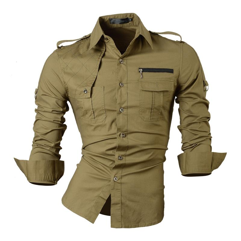 Jeansian Men 39 s Casual Dress Shirts Fashion Desinger Stylish Long Sleeve Slim Fit 8371 ArmyGreen in Casual Shirts from Men 39 s Clothing