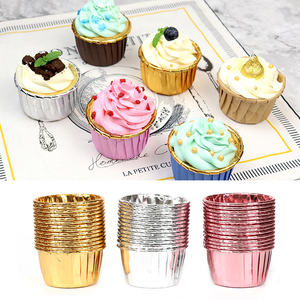 50pcs Cupcake Paper Cup Oilproof Cupcake Liner Baking Cup Tray Case Wedding Party Caissettes Golden Muffin Wrapper Paper(China)