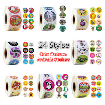 24 Styles 500pcs/roll 1Inch Cute Cartoon Animals Stickers Journal Scrapbooking Teacher Encouragement Reward Sticker for Children - discount item  35% OFF Stationery Sticker