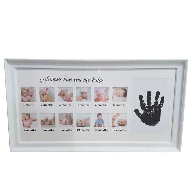"""forever Love You My Baby ""Creative DIY 0-12 Month Baby Souvenirs Commemorate Kids Growing Memory Gift Display  Photo Frame"