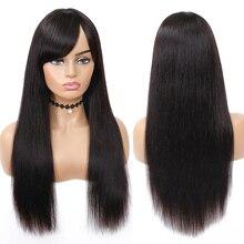 Straight Human Hair Wigs With Bangs Braz