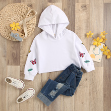 Autumn Girls Clothing Sets Butterfly Print Hoodies Sweatshirts + Ripped Jeans Toddler Girl Outfits roupas infantis Girls Clothes