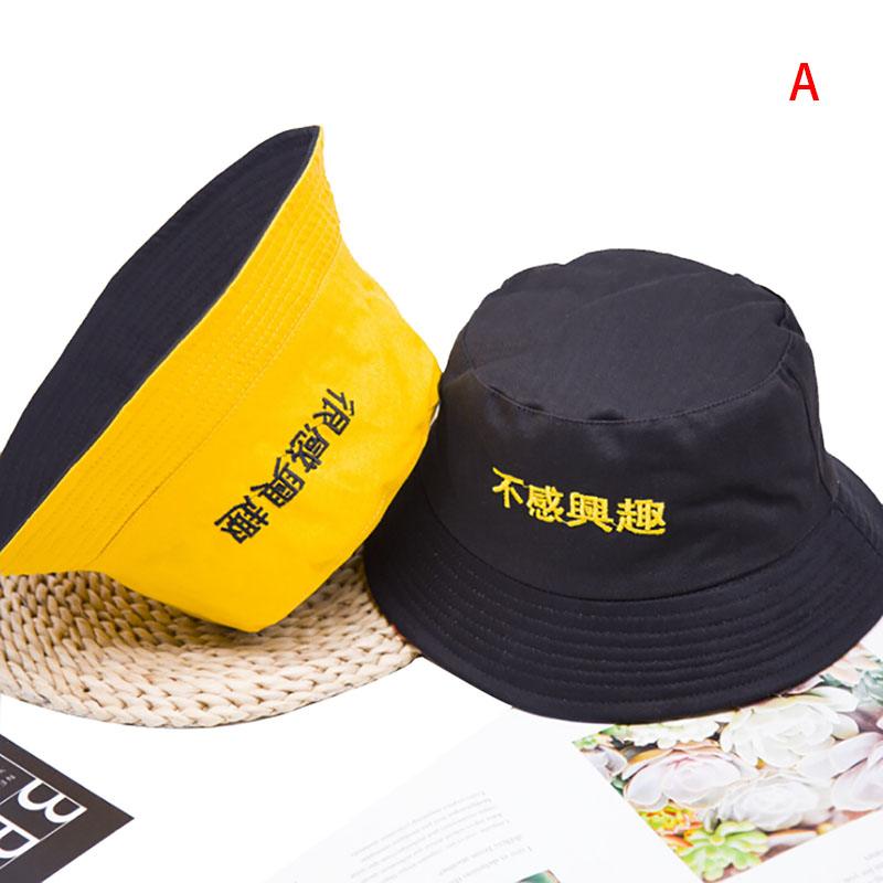 Bucket Hats Women Letter Embroidered Double-sided Fisherman Hat Korean Style Solid Climbing Outdoor Sun-proofed All-match Chic