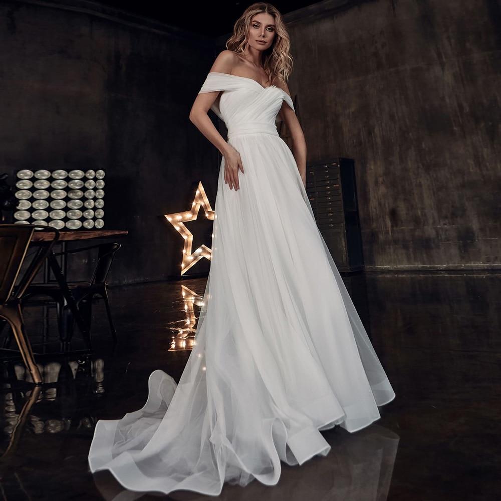 Simple Tulle Boho Wedding Dresses 2020 Off Shoulder Sweep Train Plus Size A-line Bridal Gowns Vestido de noiva