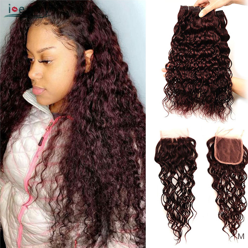 I Envy Brazilian Human Hair 3 Bundles With Lace Closure Burgundy Water Wave Hair Bundles With Closure Colored Dark Red Non-Remy