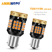 ANMINGPU Signal Lamp No Hyper Flash Led 1156 P21W BA15S BAU15S PY21W 303SMD T20 7440 W21W Canbus Error Free Turn Signal Light 1156 bau15s py21w dual color white ice blue amber yellow switchback led turn signal light error free canbus with resistor drl