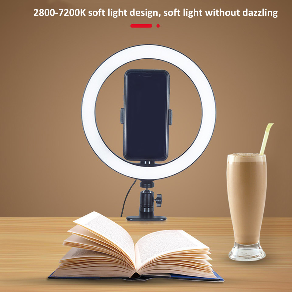 Photography LED Selfie Ring Light 16 26cm Dimmable Photo Studio Light clip USB Plug For Makeup Youtube Video Live