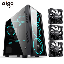 Gaming-Case Pc-Chassis Tempered-Glass Mid-Tower Aigo ATX USB with 3PCS 120mm Pwm/argb-Fan