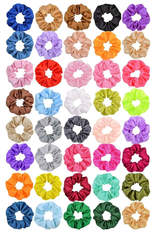 3.9 นิ้วผู้หญิงผ้าไหมScrunchie Elastic Handmade MulticolorผมวงHeadbandอุปกรณ์เสริมผม