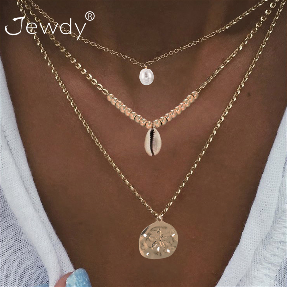 Golden Three Layers Metal Pendant Necklace Fashion Long Clavicle Chain Necklace for Women Anniversary Party Jewelry Accessories