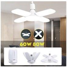 E27 lampe à Led ampoule Led pliant 30/45/60/80W Lampada Bombilla 220V ventilateur lame ampoule projecteur Garage lumière pour la maison blanc froid