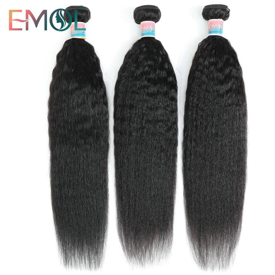 Kinky pacotes retos 100% feixes de tecer cabelo humano não-remy grossa yaki tecer cabelo em linha reta 1/3/4 pc/lote pacotes de cabelo barato