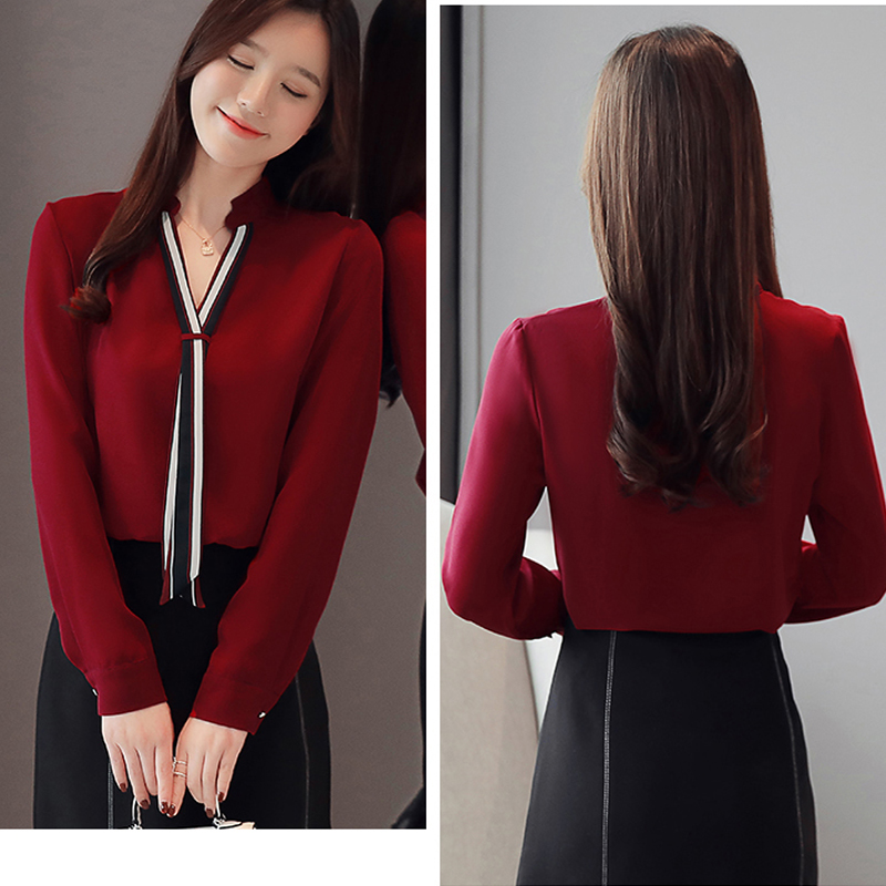 New Stand Collar Pullover Blouse Women Tops Chiffon Office Lady Long Sleeve White Red Women's Blouse Shirt Blusas Mujer 6469 50 2