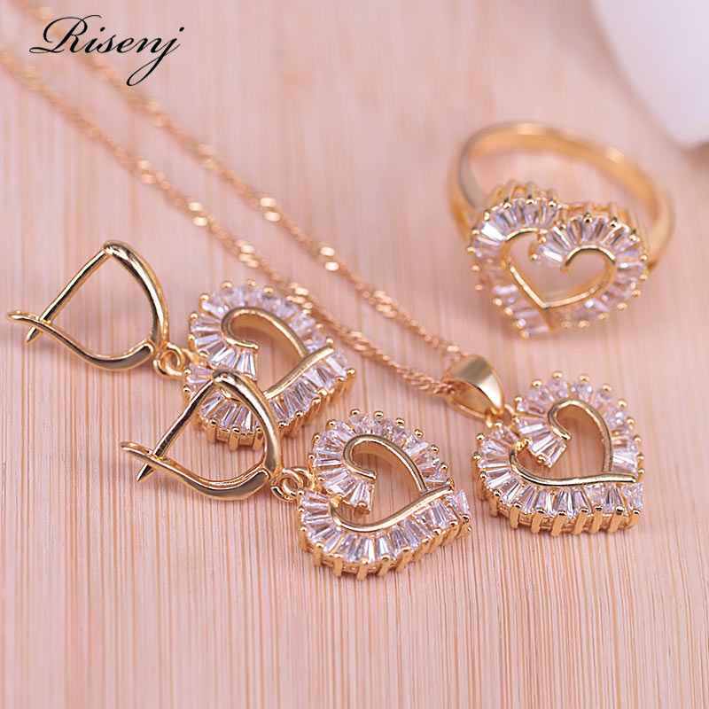 Risenj Gold Color Jewelry Set Heart Square White Zircon Bridal Jewelry Set Earrings Necklace Ring Set For Women Best Present
