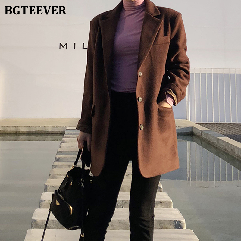 BGTEEVER Vintage Single-breasted Loose Women Blend Blazer 2019 Winter Thicken Plaid Suit Coat Female Pockets Warm Blazer Femme
