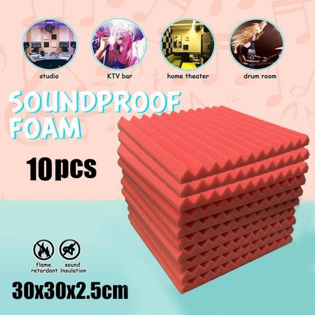 10Pack 30x30x2.5cm Soundproofing Foam Acoustic Foam Sound Treatment Acoustic Panels Studio Foam Wedges Tiles For KTV Rooms, Wall