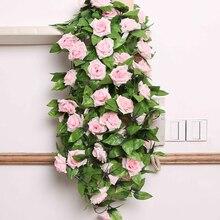2,4 m simulación de vid de rosas que cuelga flores artificiales falsas flores de boda decoración del hogar Decoración de Oficina Decoración falsa