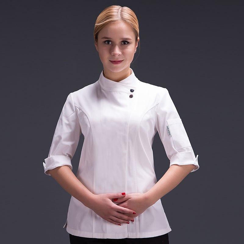 Food Chef Kitchen Jacket White Hotel Uniform Summer Restaurant Waiter Workwear Clothing Women's Kitchen Jacket
