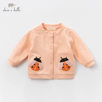 DBZ13319 dave bella spring baby girls cute button cartoon coat children tops fashion infant toddler outerwear image