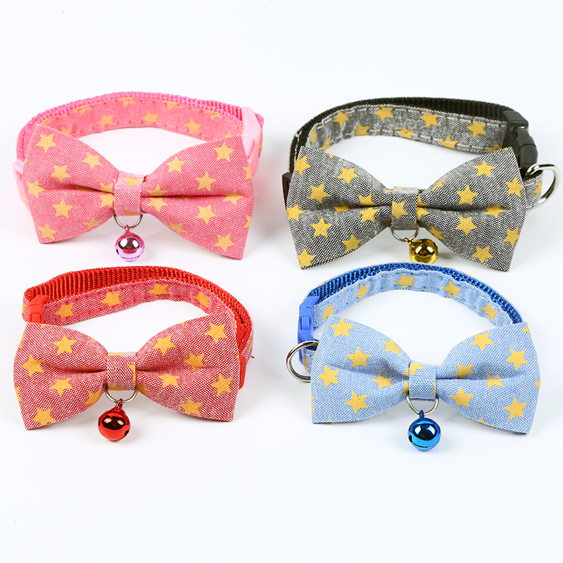 New Style Pet Supplies Dog Traction Neck Ring Meng Home Outdoor Five-pointed Star Pet Bell Collar