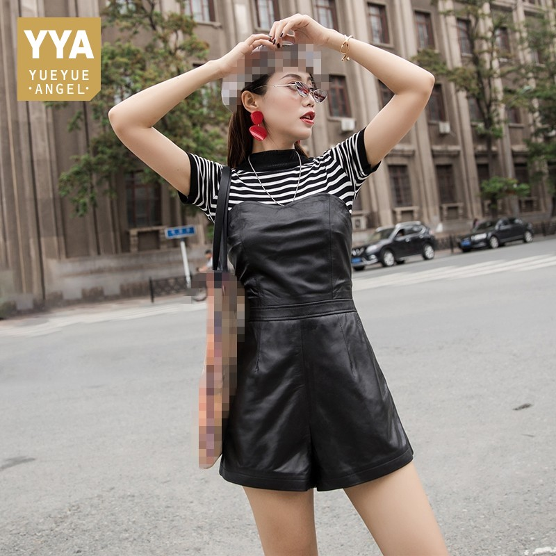 2019 Herfst Winter Nieuwe Slim Fit Real Leather Korte Jumpsuits Vrouwelijke Harajuku Schapenvacht Lederen Wijde Pijpen Speelpakjes Vrouwen