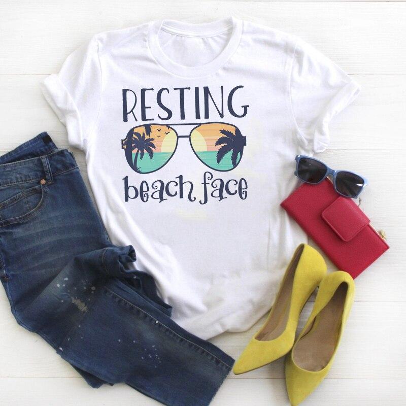 Women Shirt Summer Resting Beach Face Cute Fashion Graphic Printed Ladies Kawaii Womens Clothes Tee Top Tshirt Female T-shirt