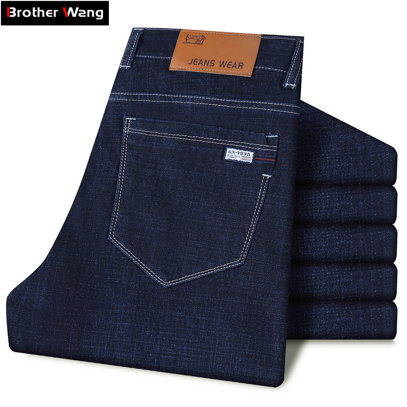 Classic Style Men's Business Slim Jeans 2019 New Large Size 40 42 44 Fashion Stretch Denim Trousers Male Brand Pants Black Blue